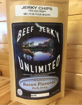 Thin and Crispy. Extra Dry Bacon Flavored Pork Jerky Chips - Our pork jerky is made from fresh, top-quality pork and marinated in one of our many savory, sweet, or spicy original recipe flavors.